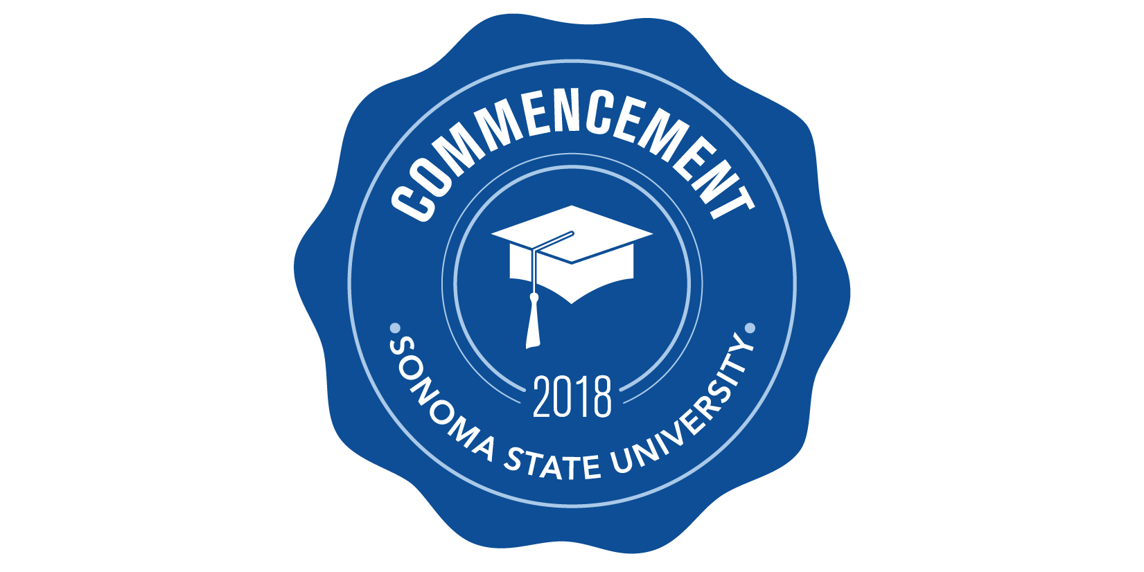 blue badge for SSU Commencement 2018