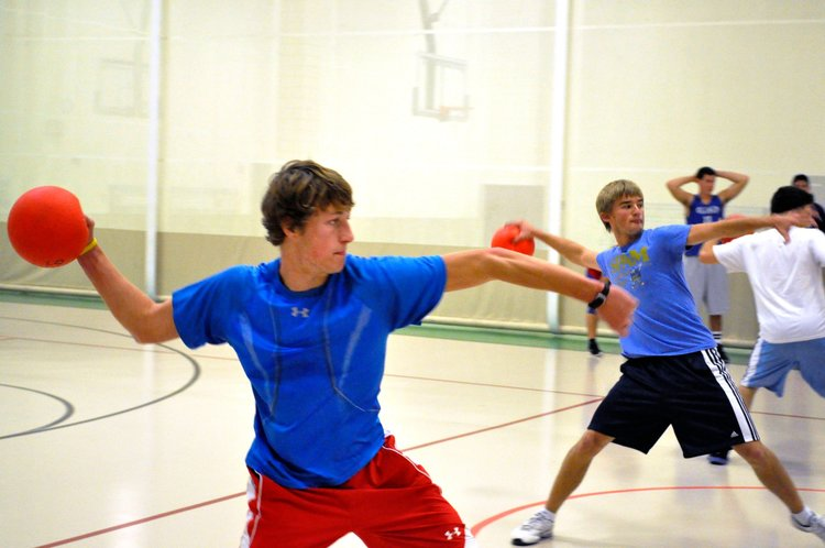 Boys playing dodgeball