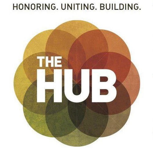 The Hub logo and mission statement