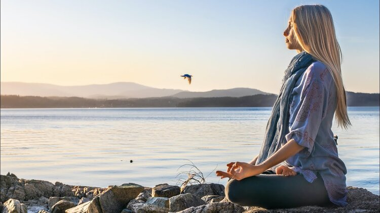 The profile of someone sitting in a meditation pose with a body of water, distant mountains, and a flying bird in the background