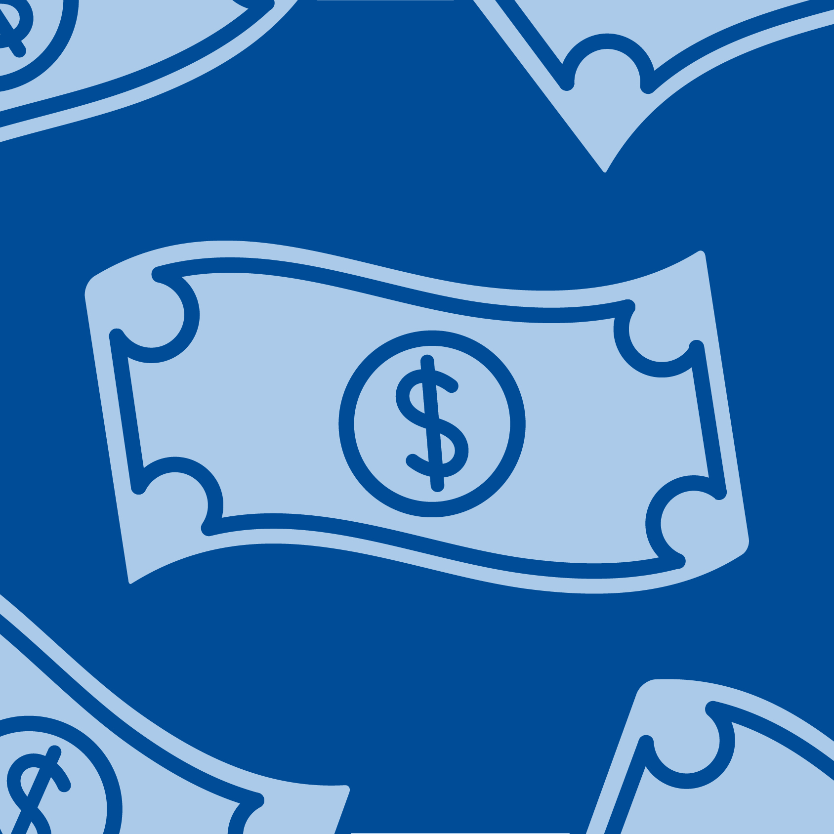 graphic illustration of a blue dollar bill