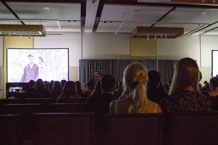 Students watching a movie