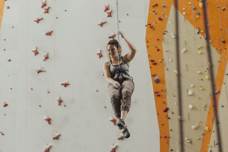 Person on a rock wall