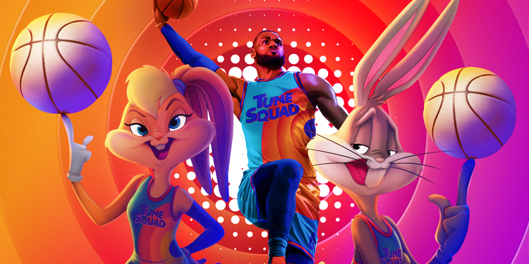 The film poster for 'Space Jam' featuring the characters Lola Bunny, Bugs Bunny, and Lebron James