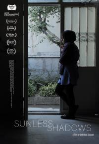 Movie poster for Sunless Shadows featuring someone standing in and looking out the doorway of a dark room