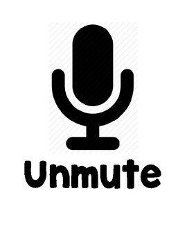 A black and white graphic of a microphone icon above the word 'unmute'