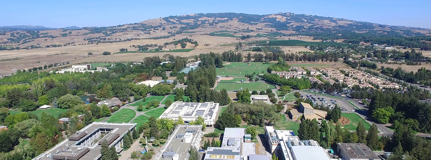 Aerial view of SSU campus looking east toward Sonoma Mountain