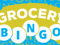 A green and blue graphic with the words 'Grocery BINGO'