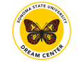 The Sonoma State University Dream Center Logo featuring a red, orange, and yellow butterfly with hummingbirds and raised fists hidden in the wing details