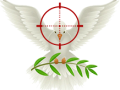 An angel, target, and  olive branch graphic