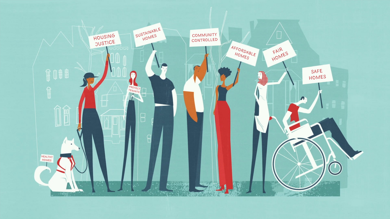 A graphic illustration of seven people and a dog holding signs promoting social justice