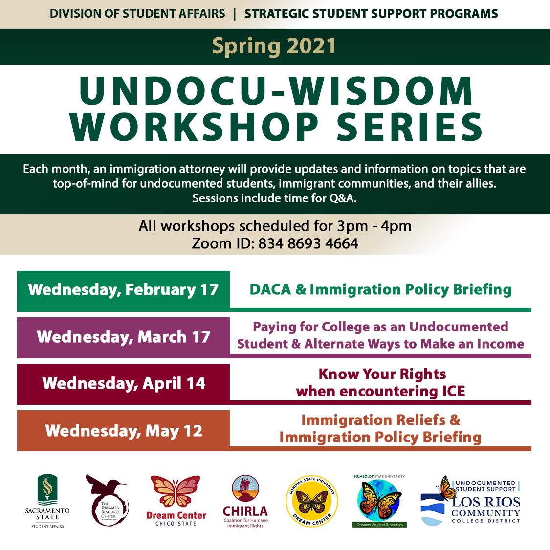 The detailed Undocu-Wisdom Workshop Series Flyer