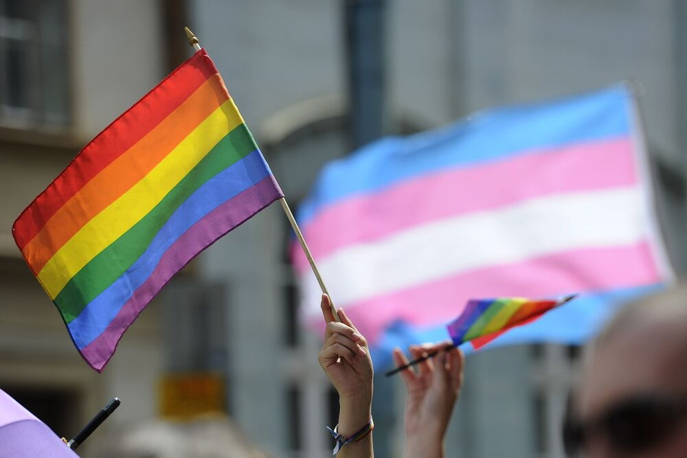 Hands holding up the rainbow LGBTQIA Pride flag as well as the pink, blue, and white Trans Pride flag