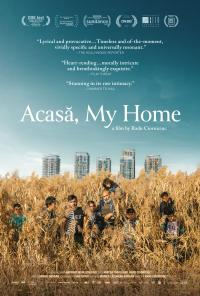 The 'Acasā, My Home' film poster featuring people in standing tall dry grass in the foreground with a city in the background