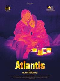 The 'Atlantis' film poster featuring a thermal image of two people embracing on another on a bed with coffee mugs on a surface in front of them
