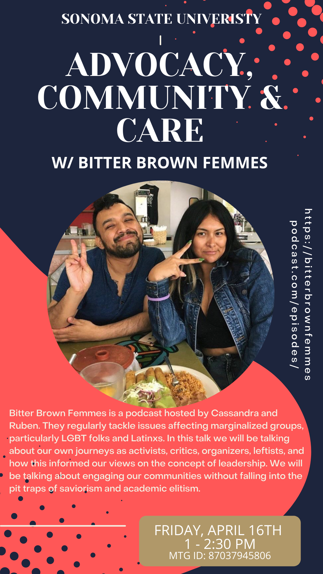 The event flyer for 'Advocacy, Community & Care' episode of the Bitter Brown Femmes podcast featuring an image of the podcast hosts posing together