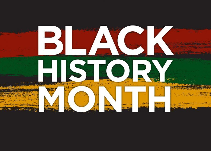 The words 'Black History Month' in white and in front of a black, red, green, and yellow graphic background