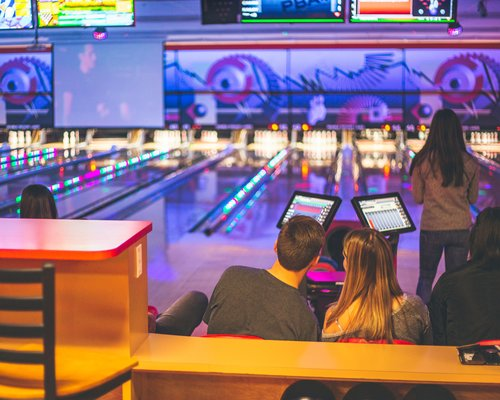 Students at the bowling alley