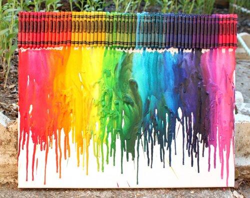 Canvas with rainbow paint