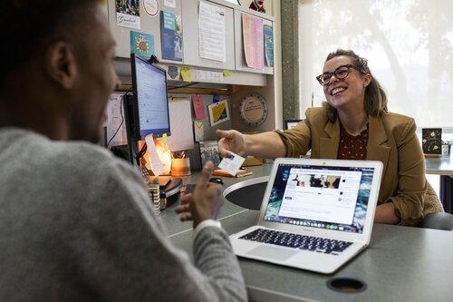 Student with career advisor