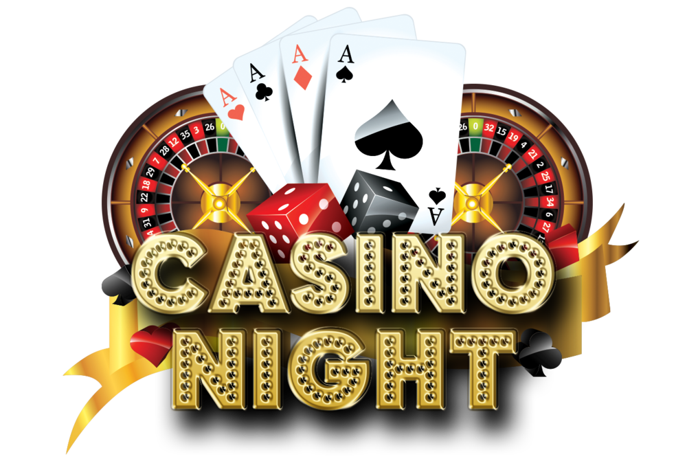 A graphic including dice, playing cards, roulette boards, a ribbo, and the words 'Casino Night'