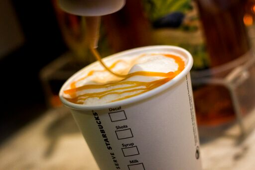 Caramel drizzled on top of coffee