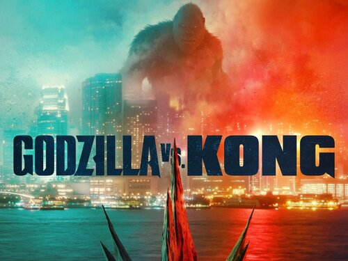 The film poster for Godzilla and Kong featuring ominous red and blue smoke clouding city lights