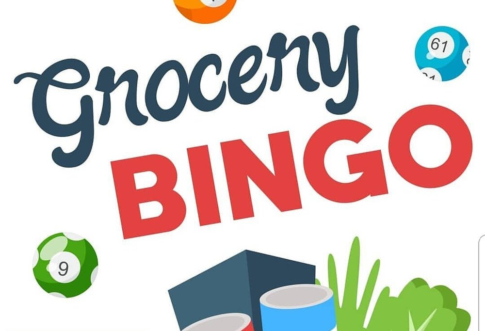 A multi-colored graphic illustration of bingo balls, a grocery bag full of groceries, and the words 'Grocery BINGO'