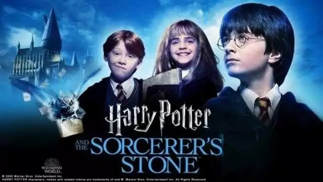 The film poster for 'Harry Potter And The Sorcerer's Stone' featuring characters Harry Potter, Harmoine Granger, Ron Weasley