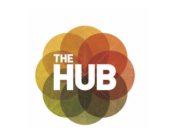 The HUB logo featuring transparent earth-toned circles combined to make a flower-like mandala