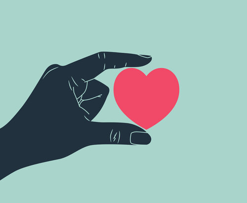 Illustration of a hand holding a heart between thumb and index finger