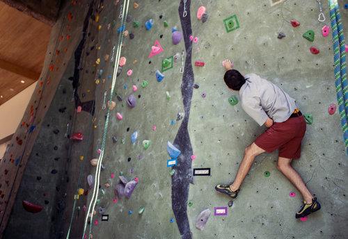 Man climbing rock