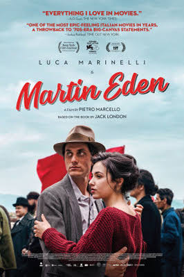 The 'Martin Eden' film poster featuring two people holding one another in front of a red flag and group of people in an outdoor setting