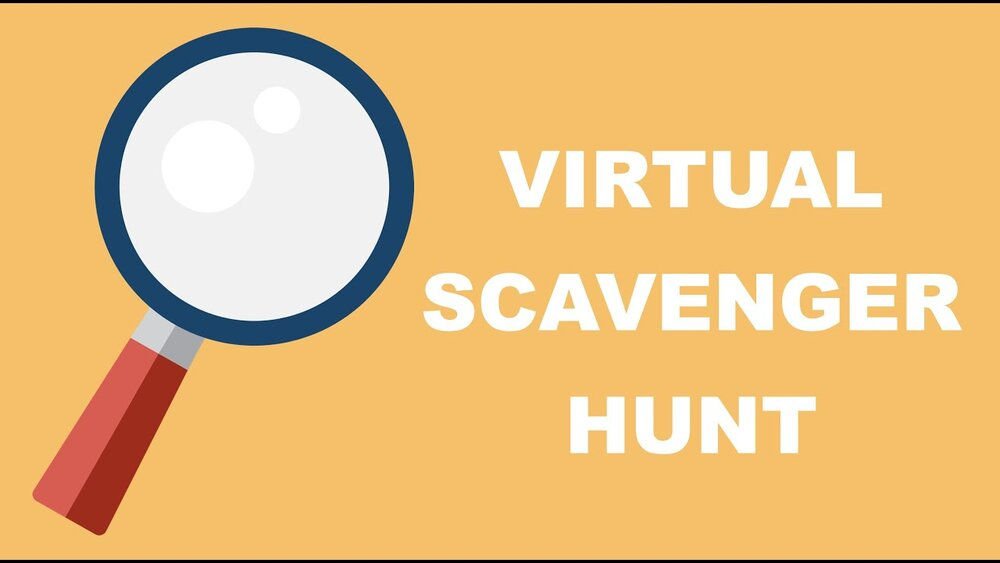 """A graphic illustration of a magnifying glass in front of an orange background featuring the words """"Virtual Scavenger Hunt"""""""