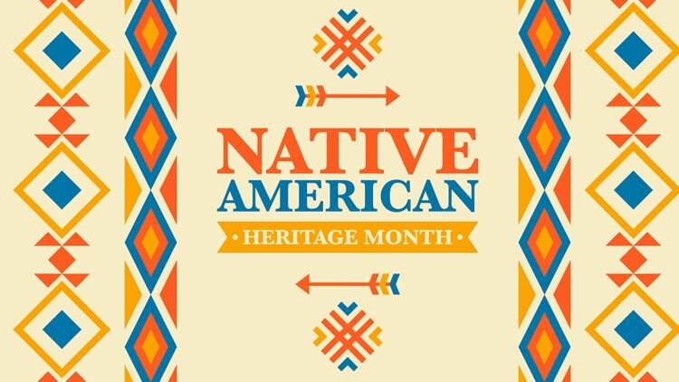 """Blue, orange, and yellow patterns surrounding the words """"Native American Heritage Month"""""""