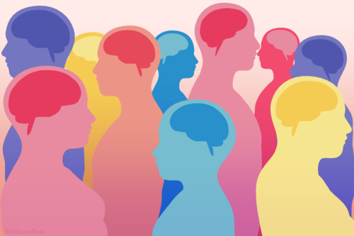 A graphic illustration of several multicolored transparent human silhouettes with their brains exposed