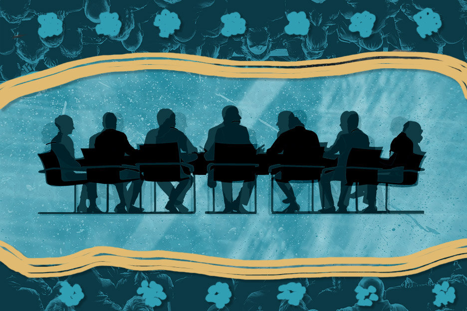A graphic illustration of the silhouette of a panel of people sitting in chairs around a conference table