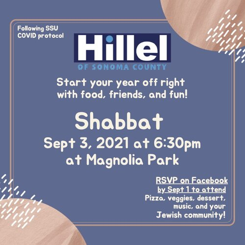 The purple flyer for the Shabbat celebration happening on Sept. 3, 2021 at 6:30pm at Magnolia Park
