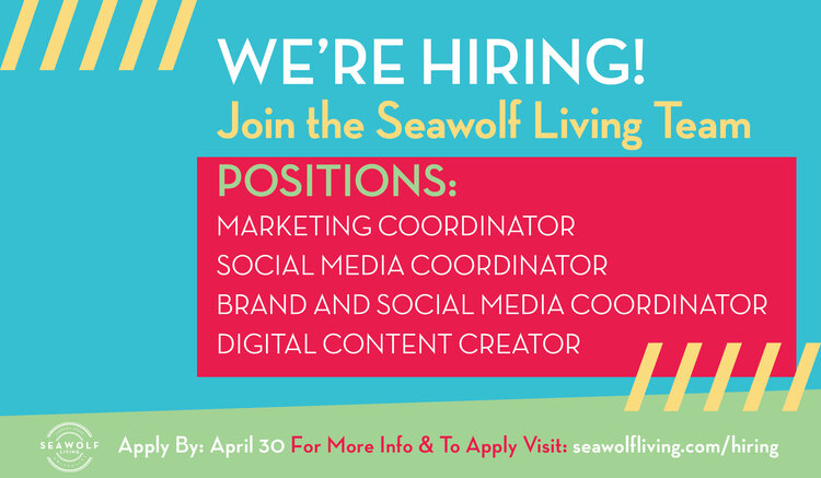 A multicolored graphic flyer listing Seawolf Living job opportunities