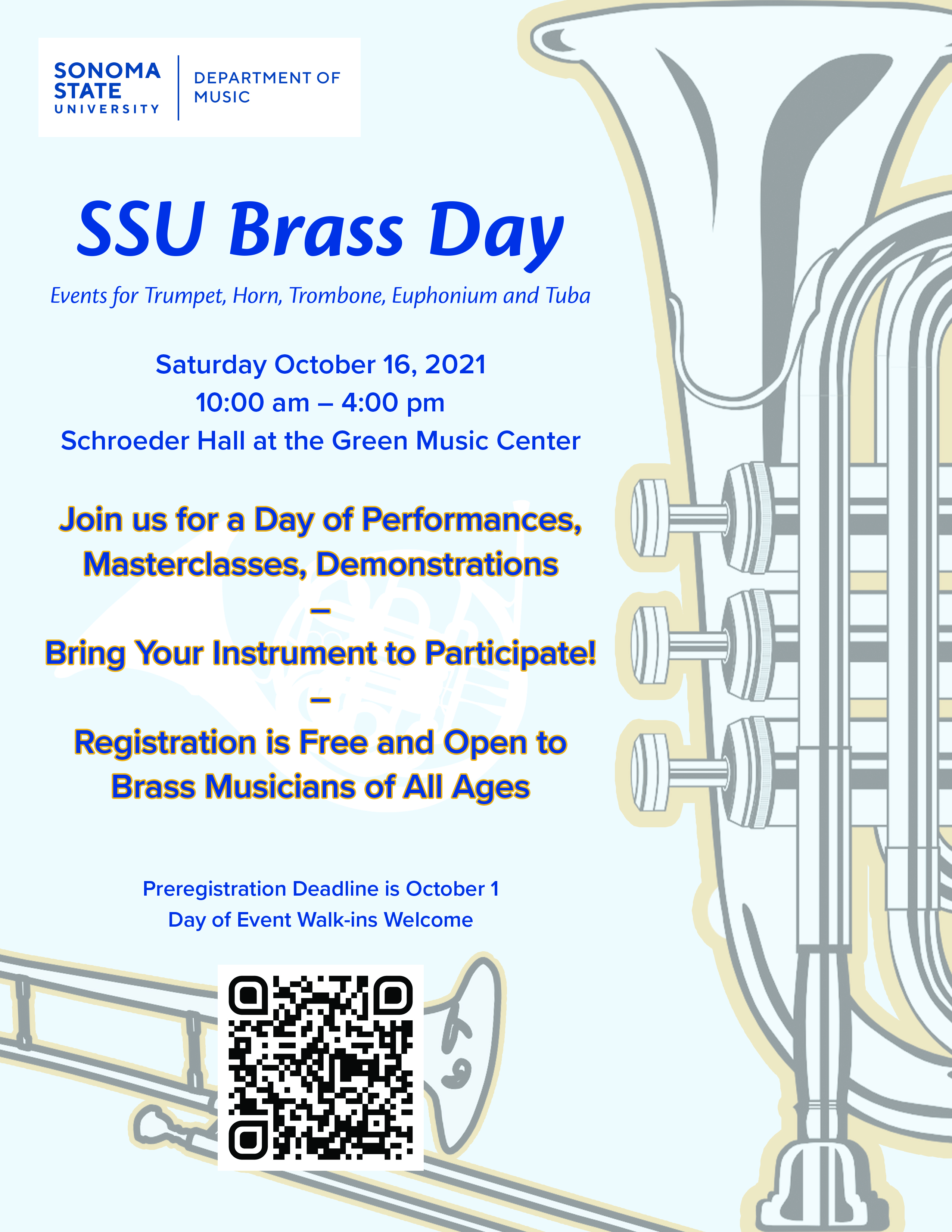 The flyer for the 2021 SSU Brass Day event