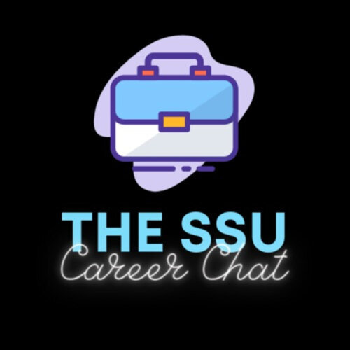 """Graphic of a blue briefcase with the words """"The SSU Career Chat"""" beneath it"""