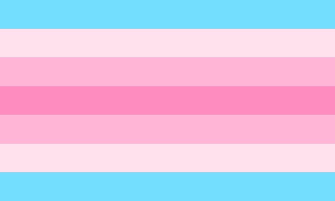 The trans femme flag featuring stripes and shades of pink and blue