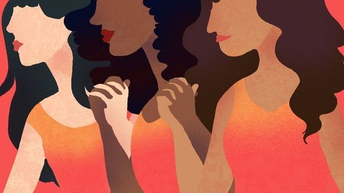 A graphic illustration of the women of varying skin tones standing next to one another and holding hands
