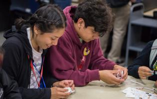Students playing cards