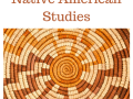 """A colorful and patterned woven basket with the words """"Native American Studies"""" above it"""