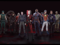 All members of the Suicide Squad standing in a line in front of a black background