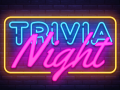 A blue, yellow, and magenta graphic of a neon sign with the words 'Trivia Night'