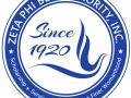 The circular Zeta Phi Beta Sorority logo featuring the words 'Zeta Phi Beta Sorority - Scholarship - Service - Sisterhood - Finer Womanhood - Since 1920' in blue and white
