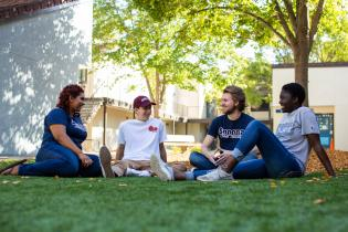 Four students talk while seated outdoors